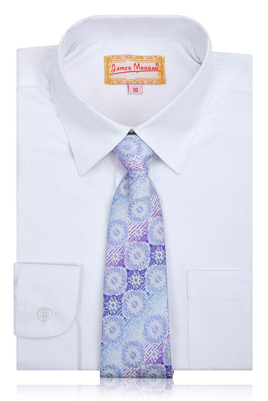 11c949c5f1ce84 James Morgan Boys White Button Down Shirt with Stylish Tie